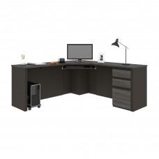 Prestige + Corner Desk including one pedestal in Bark Gray & Slate