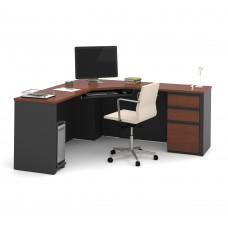 Prestige + Corner Desk including one pedestal in Bordeaux & Graphite