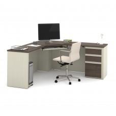 Prestige + Corner Desk including one pedestal in White Chocolate & Antigua