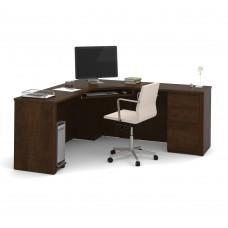 Prestige + Corner Desk including one pedestal in Chocolate