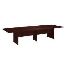 Bush Business Furniture 120W x 48D Boat Shaped Conference Table with Wood Base