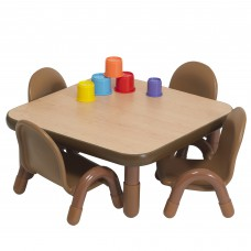 """BaseLine® Toddler 30"""" Square Table & Chair Set - Natural Wood"""