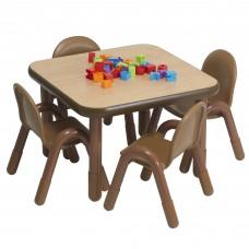 "BaseLine® Preschool 30"" Square Table & Chair Set - Natural Wood"