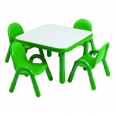 "BaseLine® Preschool 30"" Square Table & Chair Set - Shamrock Green"
