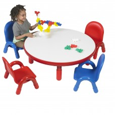 """BaseLine® Toddler 36"""" Diameter Round Table & Chair Set - Candy Apple Red"""