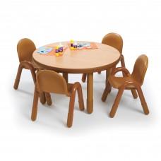 "BaseLine® Preschool 36"" Diameter Round Table & Chair Set - Natural Wood"