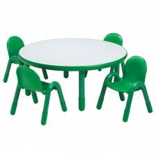 "BaseLine® Preschool 36"" Diameter Round Table & Chair Set - Shamrock Green"