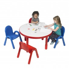 """BaseLine® Preschool 36"""" Diameter Round Table & Chair Set - Candy Apple Red"""
