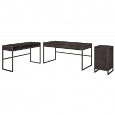 Office by kathy ireland® Atria 60W L Shaped Desk with 3 Drawer File Cabinet