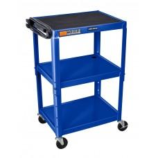 Luxor Adjustable Height Royal Blue Metal A/V Cart