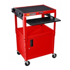 Luxor Adjustable Height Red Metal A/V Cart w/ Pullout Keyboard Tray and Cabinet