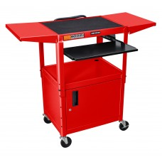 Luxor Adjustable Height Red Metal A/V Cart w/ Pullout Keyboard Tray, Cabinet & 2 Drop Leaf Shelves