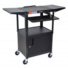 Luxor Adjustable Height Black Metal A/V Cart w/ Pullout Keyboard Tray, Cabinet & 2 Drop Leaf Shelves