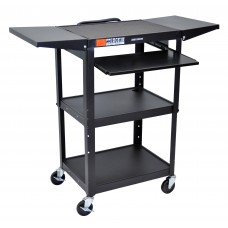 Luxor Adjustable Height Black Metal A/V Cart w/ Pullout Keyboard Tray & 2 Drop Leaf Shelves