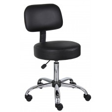 Black Caressoft Medical Stool W/ Back Cushion