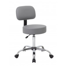 Grey Caressoft Medical Stool W/ Back Cushion