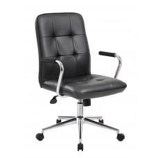 Modern Office Chair w/Chrome Arms - Black
