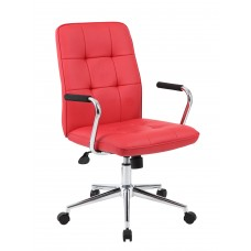 Modern Office Chair w/Chrome Arms - Red