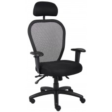 Mesh Chair W/3 Paddle Mech & Headrest