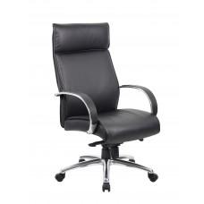 High Back Executive Chair / Aluminum Finish / Black Upholstery / Knee Tilt