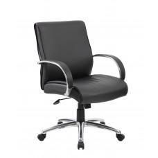Mid Back Executive Chair / Aluminum Finish / Black Upholstery