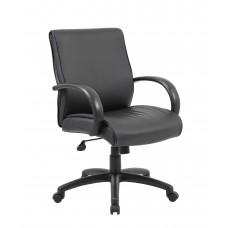 Mid Back Executive Chair / Black Finish / Black Upholstery / Knee Tilt