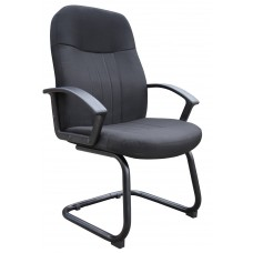 Mid Back Fabric Guest Chair In Black