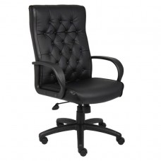 Button Tufted Executive Chair In Black W/ Knee Tilt