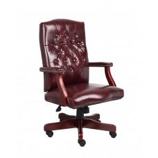 Classic Executive Oxblood Vinyl Chair With Mahogany Finish Frame