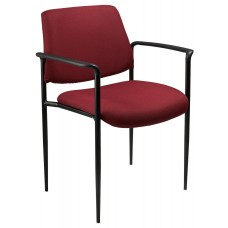 Square Back  Diamond Stacking Chair W/Arm In Burgundy