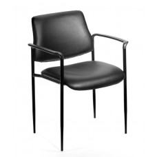 Square Back  Diamond Stacking Chair W/Arm In Black Caressoft