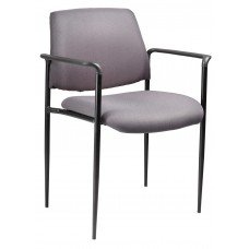 Square Back  Diamond Stacking Chair W/Arm In Grey