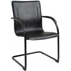Black Frame Black Vinyl Side Chair, 4Pcs Per Pack