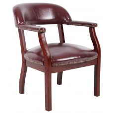 Captain's Chair In Burgundy Vinyl