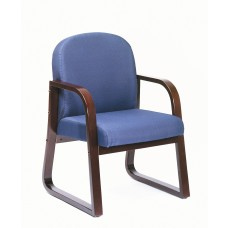 Mahogany Frame Side Chair In Blue Fabric