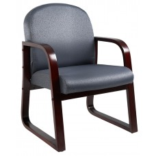 Mahogany Frame Side Chair In Grey Fabric
