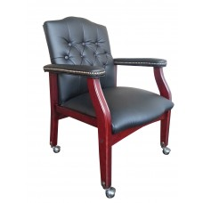 Traditional Black Caressoft Guest Chair W/ Mahogany Finish