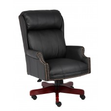 Traditional High Back CaressoftPlus Chair W/Mahogany Base