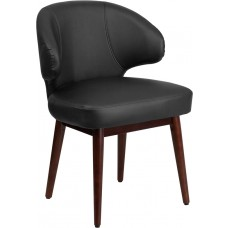 Comfort Back Series Black Leather Side Reception Chair with Walnut Legs [BT-1-BK-GG]