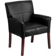 Black Leather Executive Side Reception Chair with Mahogany Legs [BT-353-BK-LEA-GG]