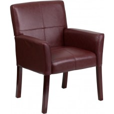 Burgundy Leather Executive Side Reception Chair with Mahogany Legs [BT-353-BURG-GG]