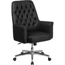 Mid-Back Traditional Tufted Black Leather Executive Swivel Chair with Arms [BT-444-MID-BK-GG]