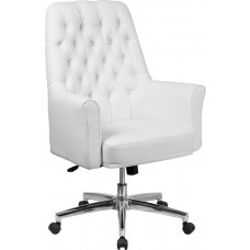 Mid-Back Traditional Tufted White Leather Executive Swivel Chair with Arms [BT-444-MID-WH-GG]
