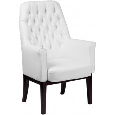 High Back Traditional Tufted White Leather Side Reception Chair [BT-444-SD-WH-GG]
