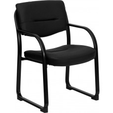 Black Leather Executive Side Reception Chair with Sled Base [BT-510-LEA-BK-GG]