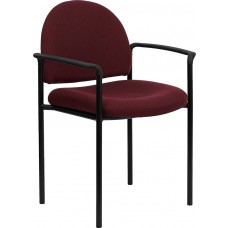 Comfort Burgundy Fabric Stackable Steel Side Reception Chair with Arms [BT-516-1-BY-GG]