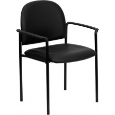 Comfort Black Vinyl Stackable Steel Side Reception Chair with Arms [BT-516-1-VINYL-GG]