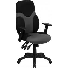 High Back Ergonomic Black and Gray Mesh Swivel Task Chair with Adjustable Arms [BT-6001-GYBK-GG]