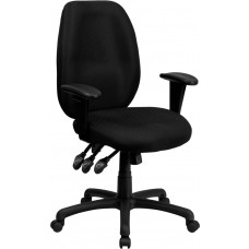 High Back Black Fabric Multifunction Ergonomic Executive Swivel Chair with Adjustable Arms