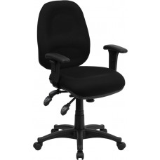 Mid-Back Black Fabric Multifunction Executive Swivel Chair with Adjustable Arms [BT-662-BK-GG]